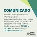 Câmara suspende site e redes sociais até 15/11 para atender à Lei Eleitoral