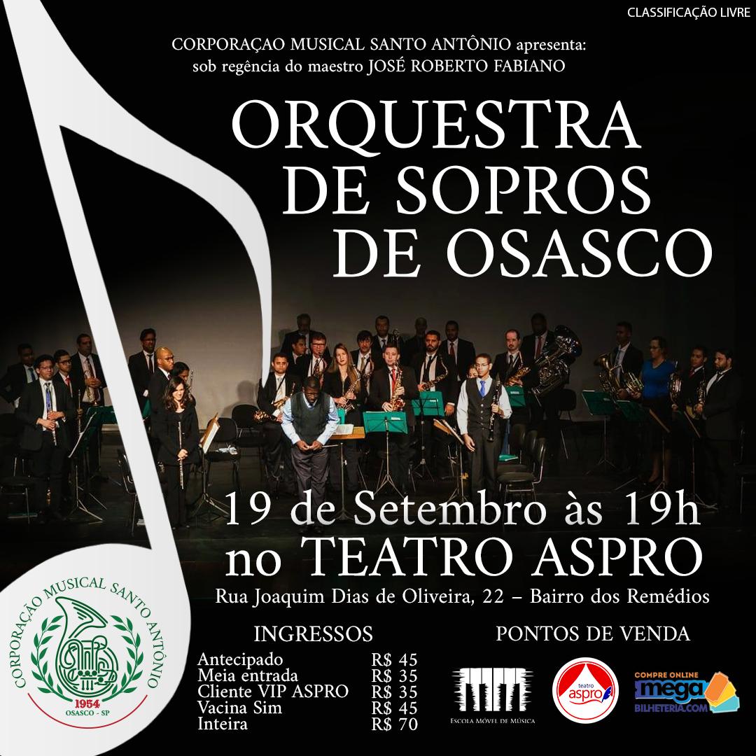 Orquestra de Sopros de Osasco faz apresentação no Teatro Aspro
